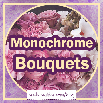 """Title: """"Monochrome Bouquets"""" in purple and gold with a photo of pink-purple flowers in the background."""