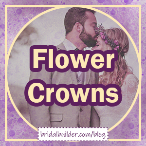 """Title in gold and purple: """"Flower crowns"""" with a faded bride wearing a purple flower crown being kissed on her forehead by her groom, a gold frame of a circle inside a square around the outside, and a background of purple and gold watercolor texture."""