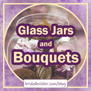 """Title: """"Glass Jars and Bouquets"""" in gold and purple letters. There's a faded photo of some white cherry blossoms in a glass jar in the background."""