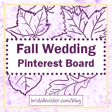 "Title: ""Fall Wedding Pinterest Board"" with hand-drawn fall leaves in purple in the background. The background is yellow and purple watercolor texture with a gold rectangular border around the outside."
