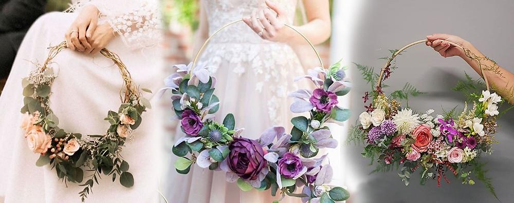 Three types of hoop bouquets: metal hoop, wood hoop, and plastic/other.