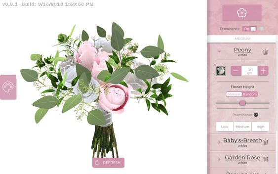 A bouquet of pink roses and other plants on the Bridal Builder app.
