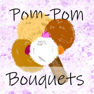 "A bouquet of pink, white, and tan pom-poms with a brown handle and purple watercolor background. The tile reads, ""Pom-Pom Bouquets."""