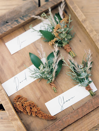 Handmade boutonniers for high-end wedding at Beano's Cabin in Beaver Creek, Colorado.