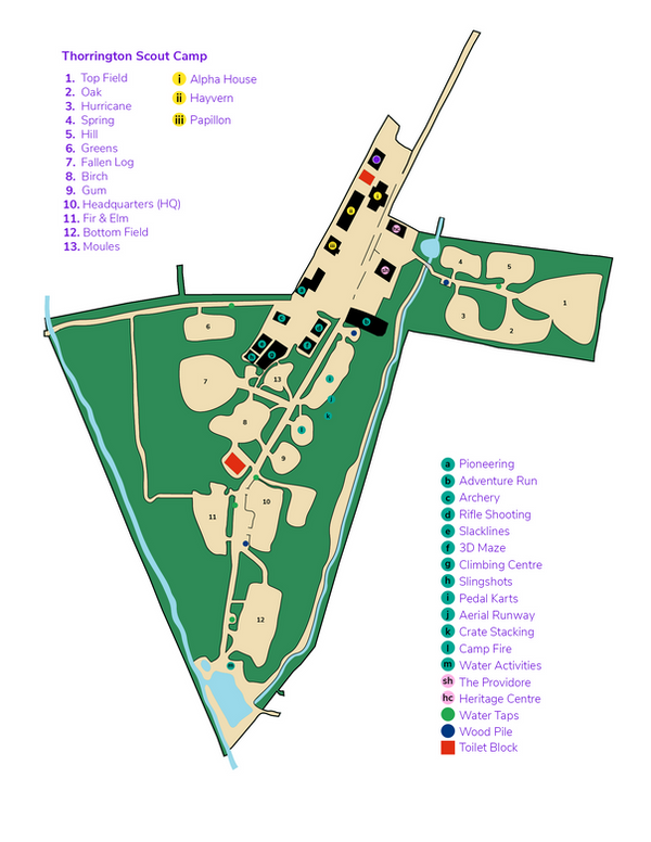 Thorrington Scout Camp Map
