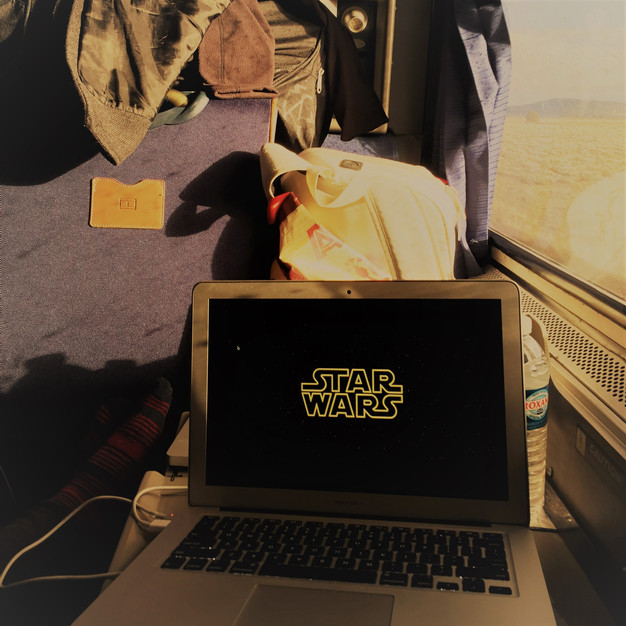 Watching Star Wars on Amtrak.