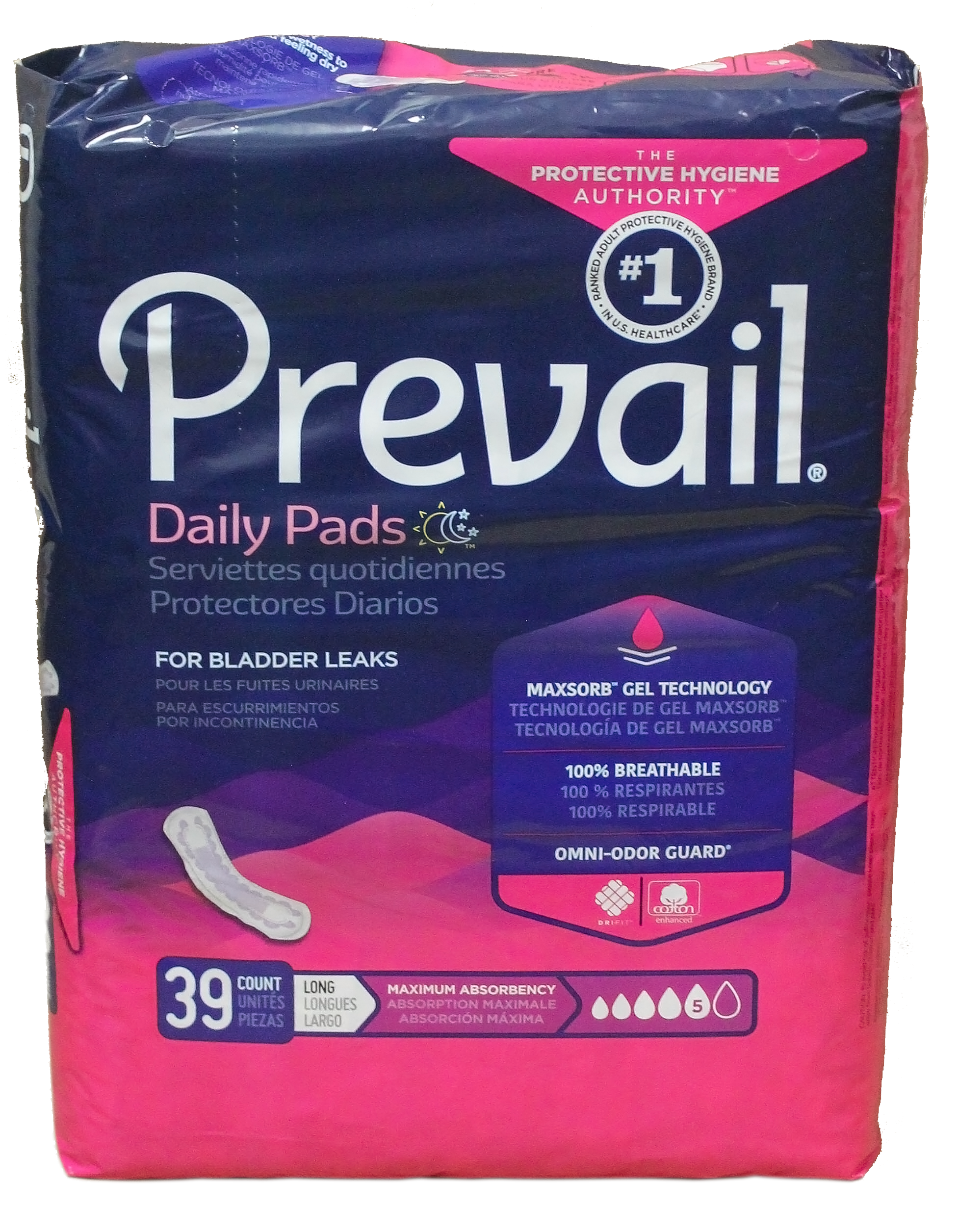 Prevail Daily Pads max absorbency