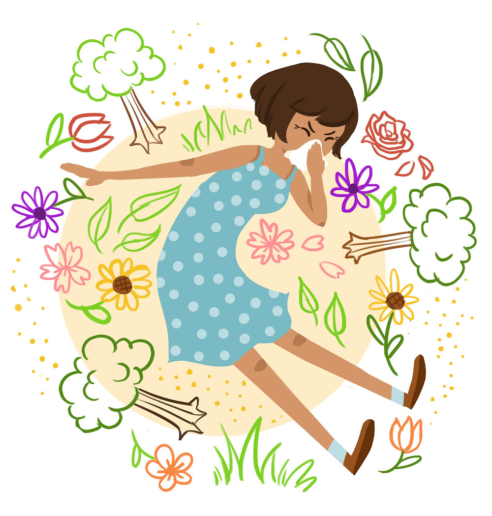 Spring allergies. Illustration by Laura Baker
