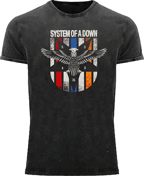 CM148 CAMISETA SYSTEM OF A DOWN ESCUDO