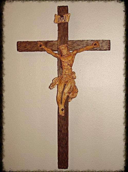 "24"" Hand Carved Crucifix"