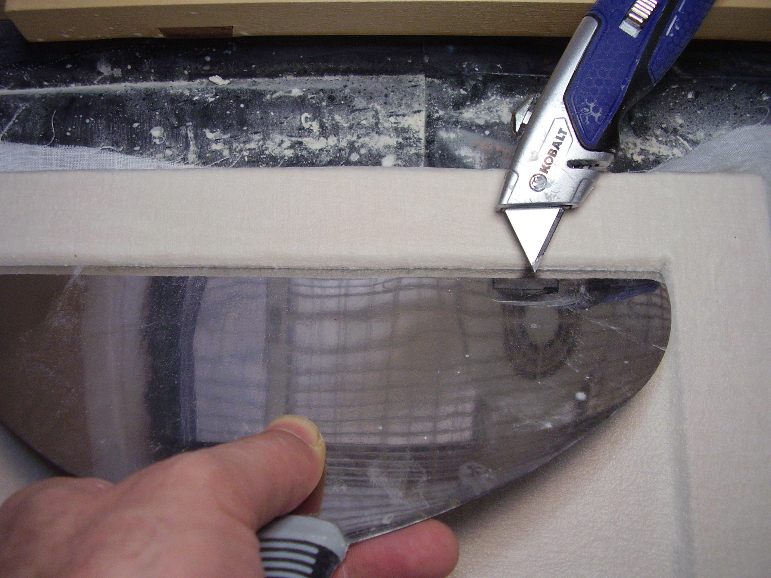corners of linen cut