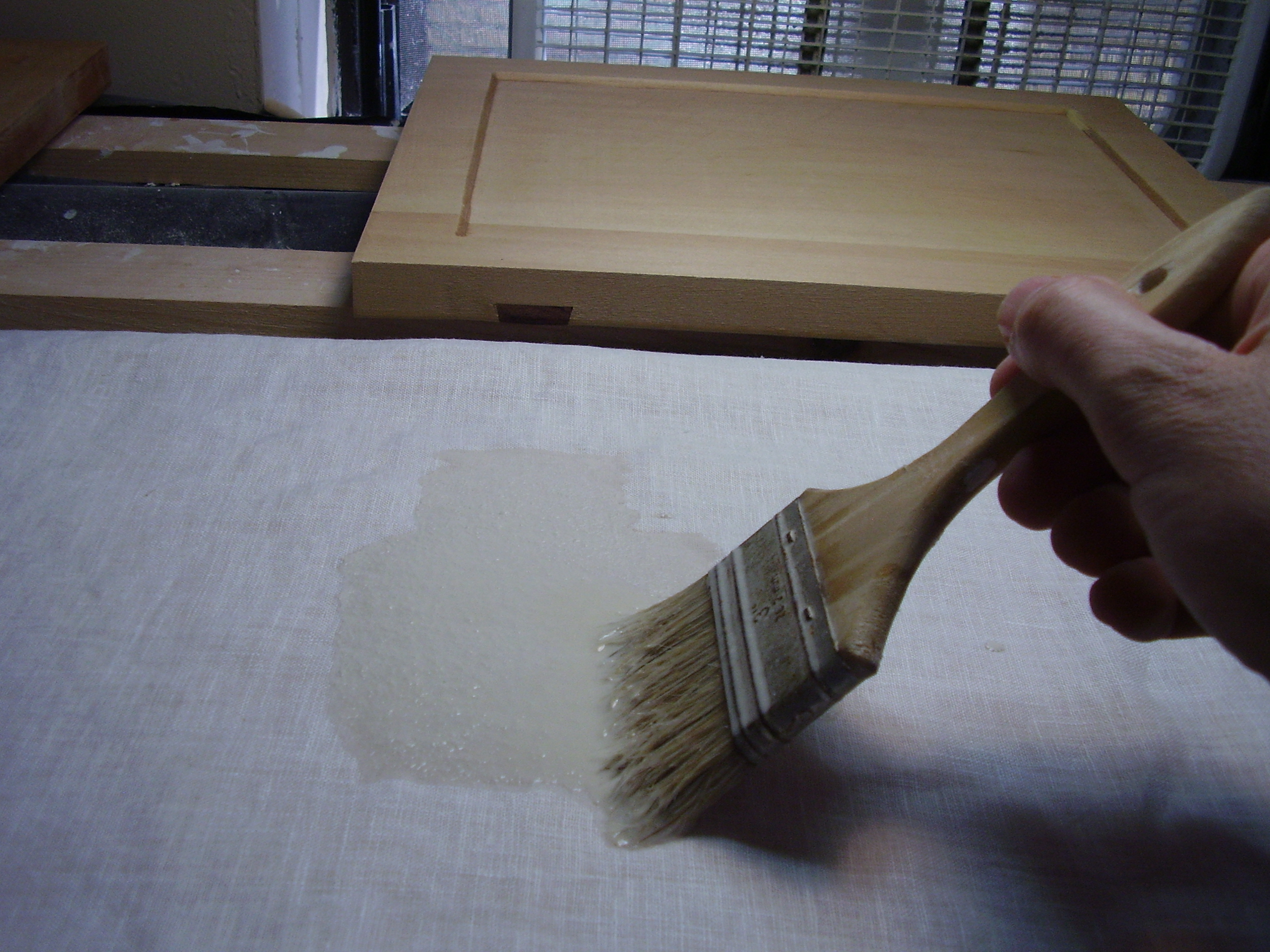 Priming mixture soaked into linen