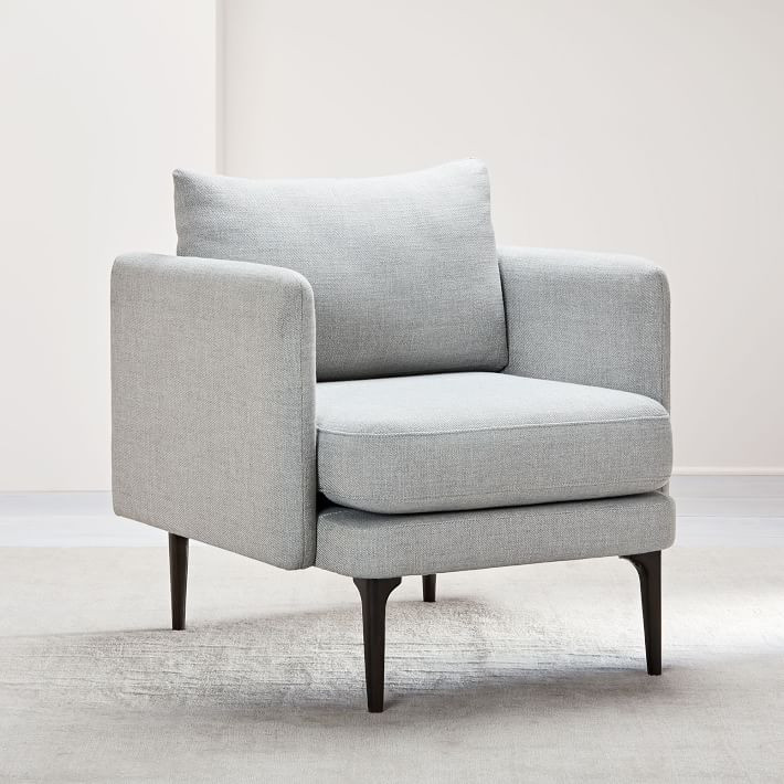 West Elm Comfortable and compact, our Auburn Chair is high style for a low price. Its streamlined frame has removable legs for easy assembly, making it easy to move with you—from that studio rental to your dream home.