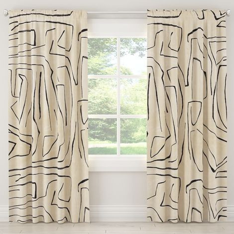 Linen Grafitto Curtain Panel