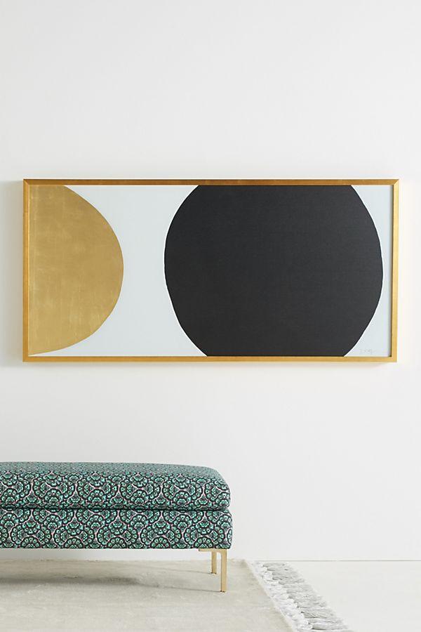 Anthropologie Gold Black Orb Wall Art