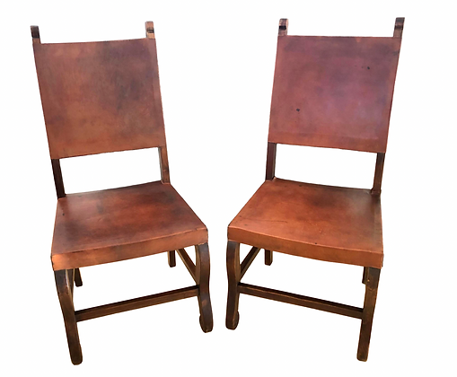 Antique Leather Side Chairs