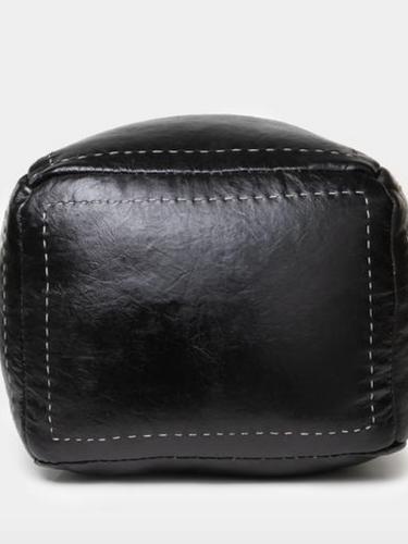 Shoppe Amber Interiors Black Leather Pouf