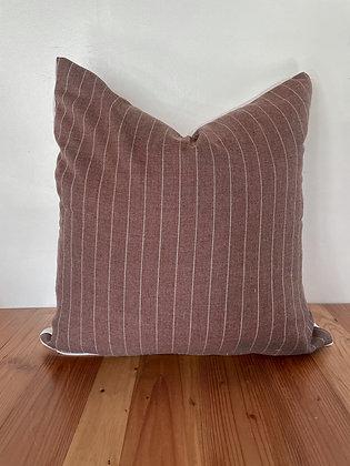 Vintage Mauve Striped Cotton Pillow