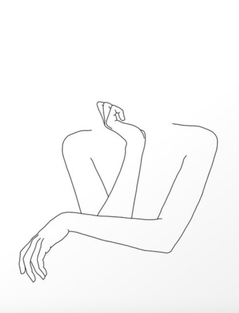 Society 6 Minimal line drawing of woman's folded arms - Anna Art Print
