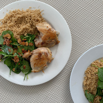 Seared Chicken with Moroccan Cous Cous and Salad