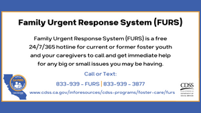 New Resource for Foster Youth - the Family Urgent Response System - is LIVE!!!