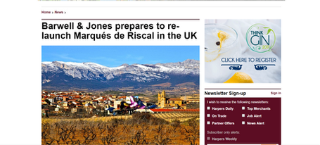 Barwell & Jones prepares to re-launch Marques de Riscal into the UK
