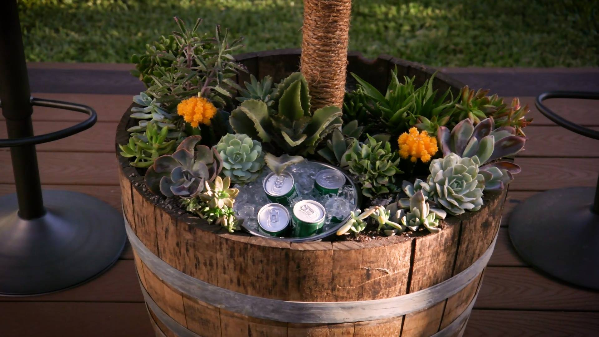 Rustic Barrel Table With Built-In Succulents