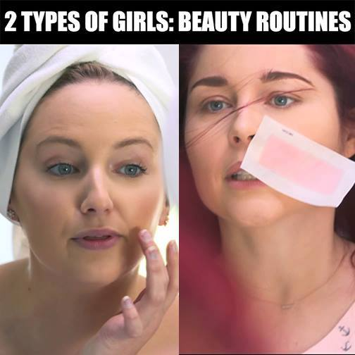 2 Types of Girls: Beauty Routines (Nair)