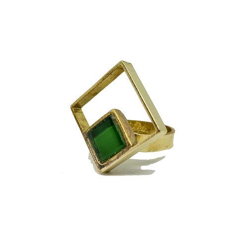 PRO Bague losange en laiton avec son verre vert