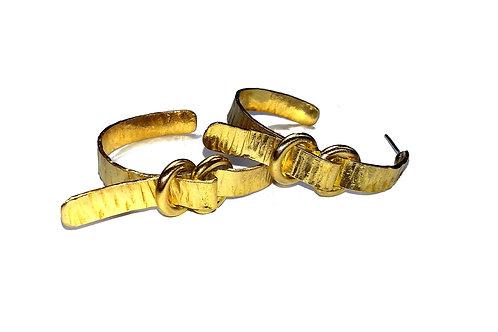 Creoles boucles ceintures 2 en laiton