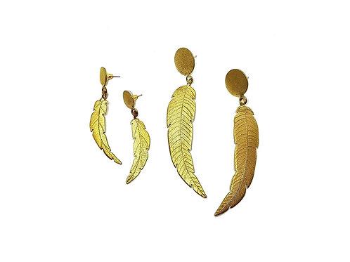 Boucles d'oreilles feuilles en laiton