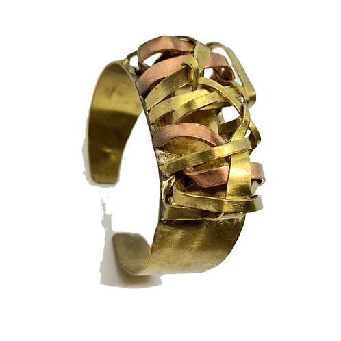 Bracelet bi-color en cuivre et laiton