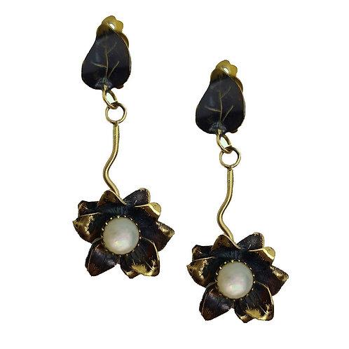 PRO Boucles d'oreilles fleur en laiton patine noir