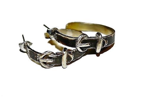 Créoles boucles ceintures en laiton patine noir