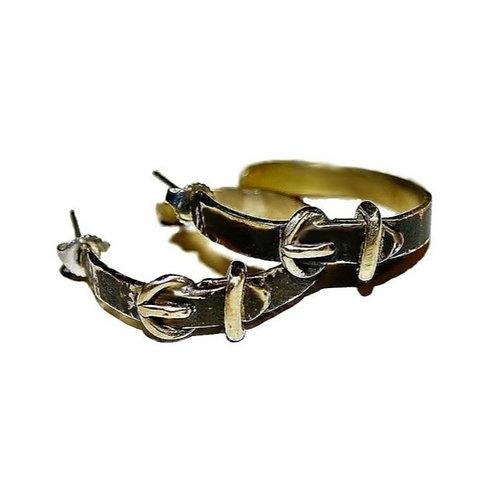 PRO Créoles boucles ceintures en laiton patine noir