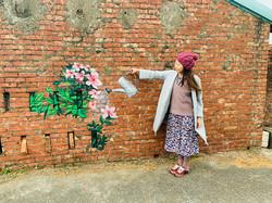 萬金杜鵑盛開 磚牆塗鴉好打卡