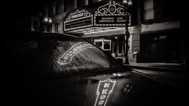 BW_TN_Theater_sign_2_reflec_on_car_hood_