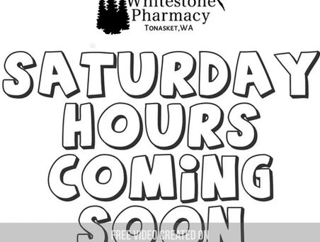 Saturday Hours starting soon!
