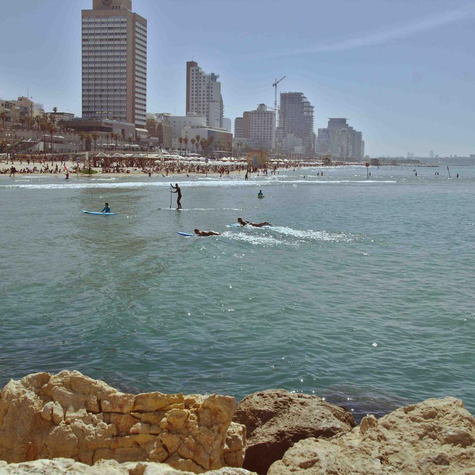 גולשים בחופי תל אביב