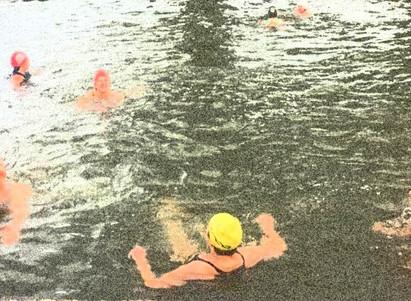 Five go swimming in a river