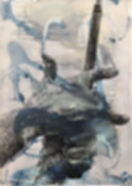 Ben Hogan's Hands In Blue, 54x78 mixed m