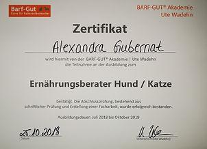 Gubernat - Zertifikat Barf-Gut Ernährungsberater