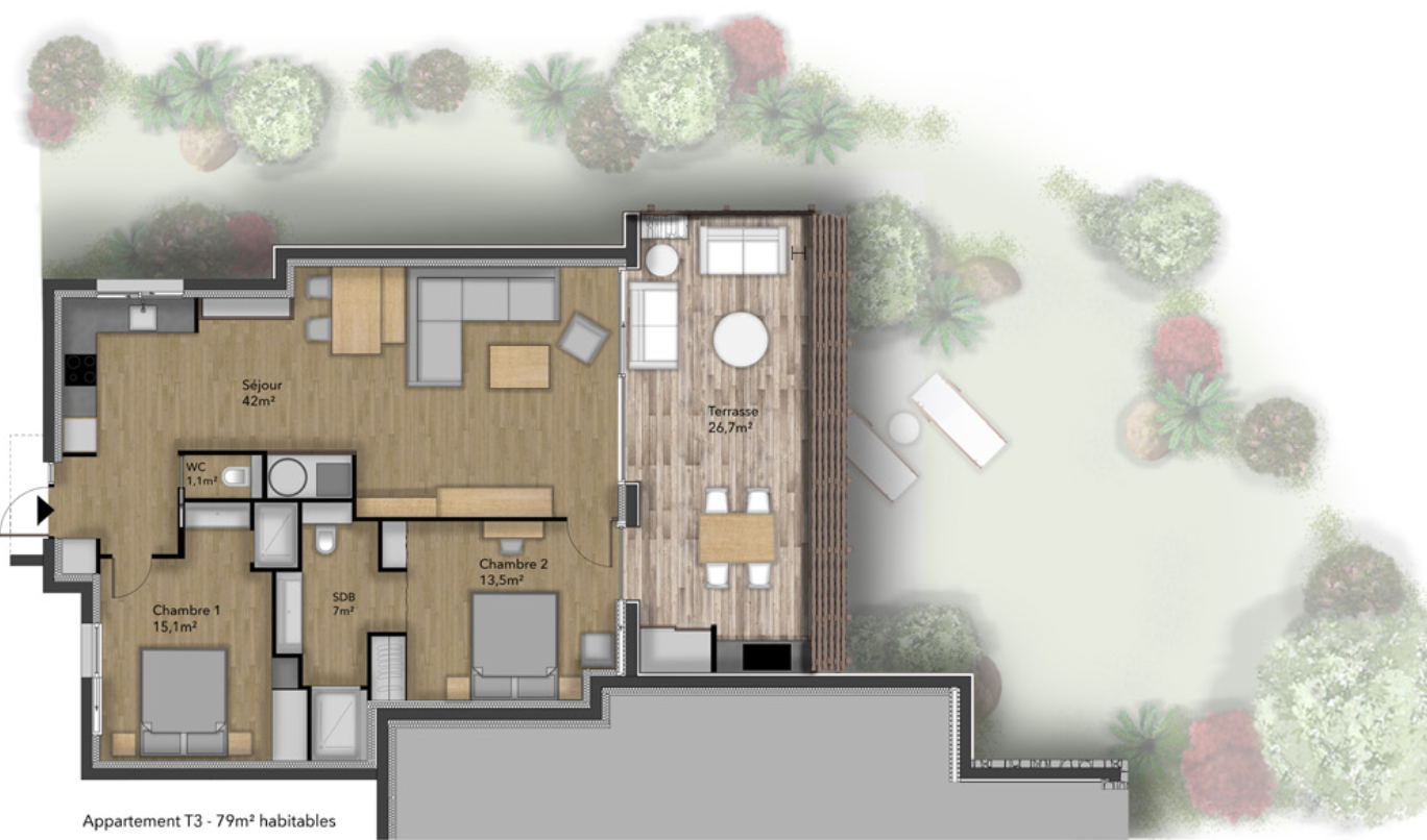Plan appartement type 3