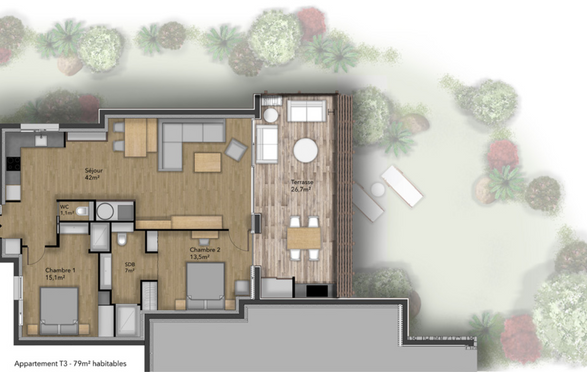 Plan appartement type 3