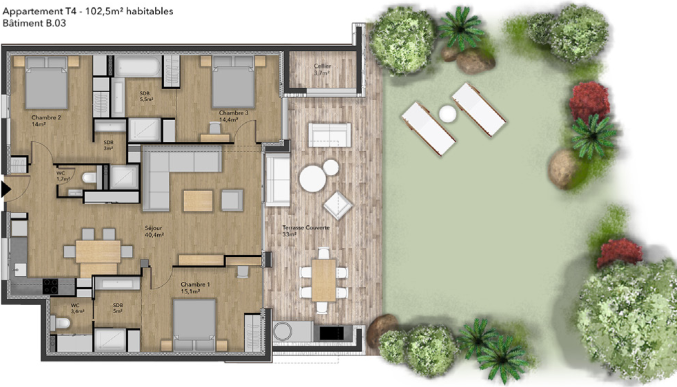 Plan appartement type 4