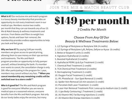 Mix & Match Beauty Membership $149 per month
