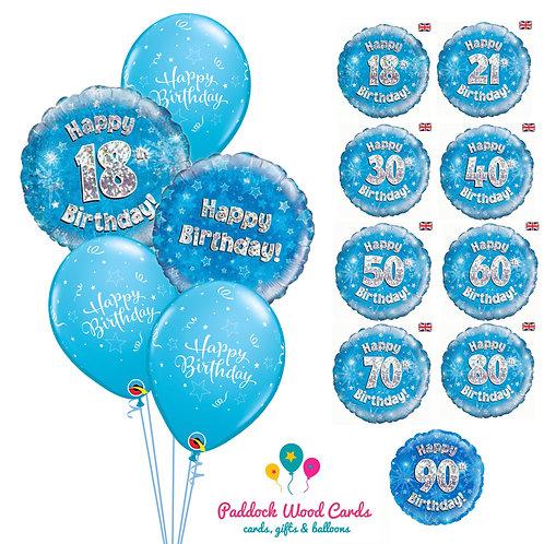 Blue Sparkle - Classic Bouquet (5 balloon)