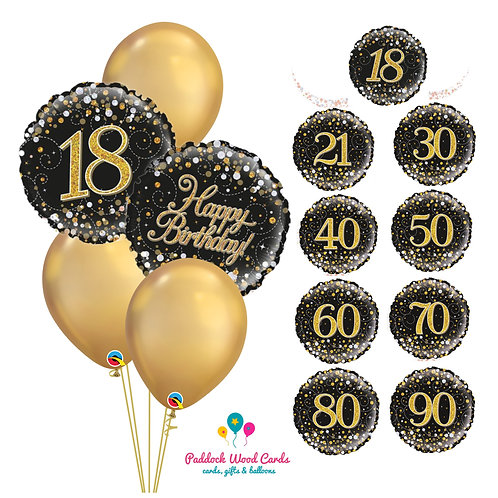 Black & Gold Shimmer - Classic Bouquet (5 balloon)