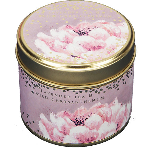 Lavender and chrysanthemum candle