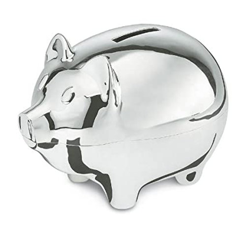 Silver plated pig money box